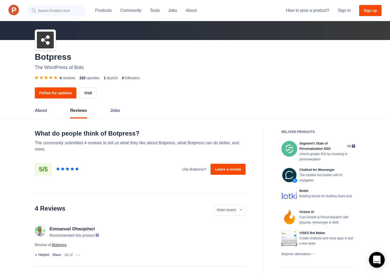 4 Botpress Reviews - Pros, Cons and Rating | Product Hunt