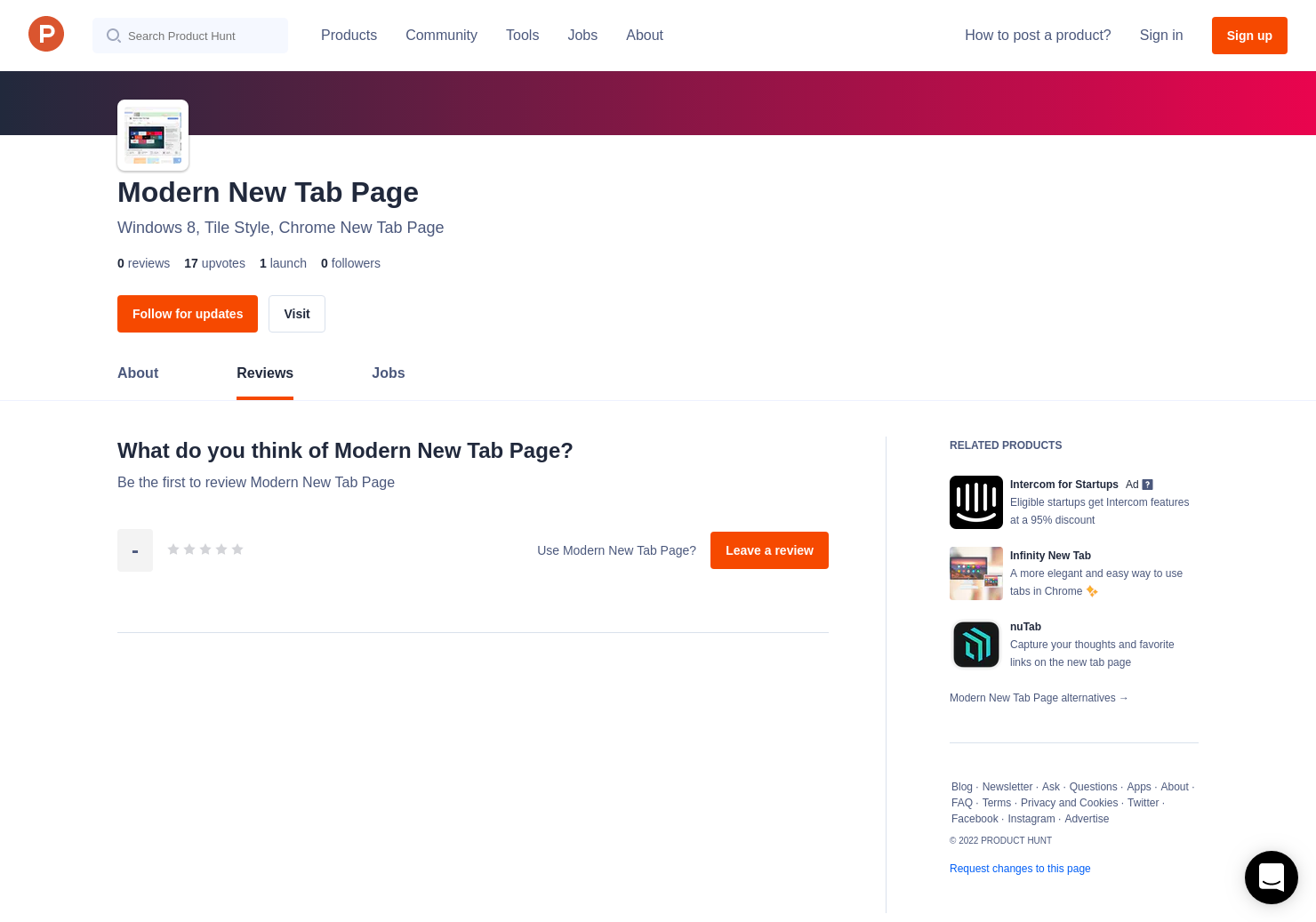 Modern New Tab Page Reviews - Pros, Cons and Rating   Product Hunt