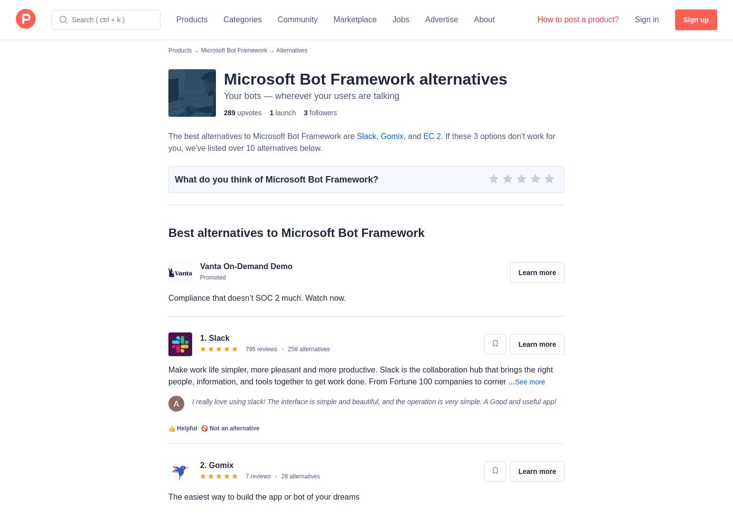14 Alternatives to Microsoft Bot Framework | Product Hunt