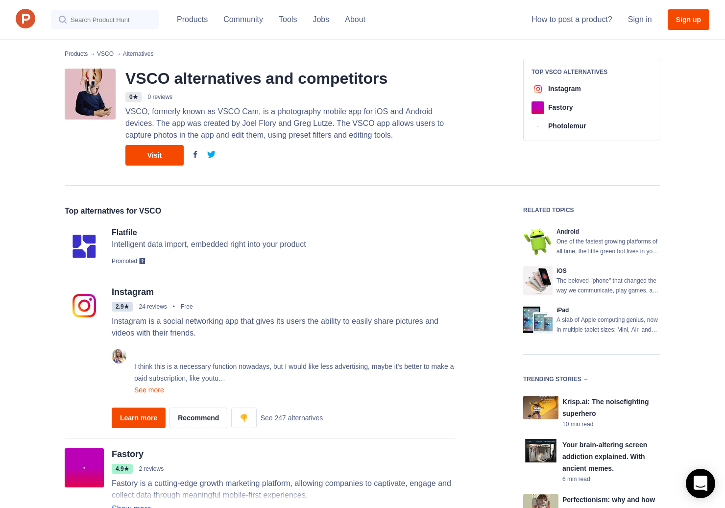 25 Alternatives to VSCO Cam 4 0 for Android, iPhone, iPad | Product Hunt