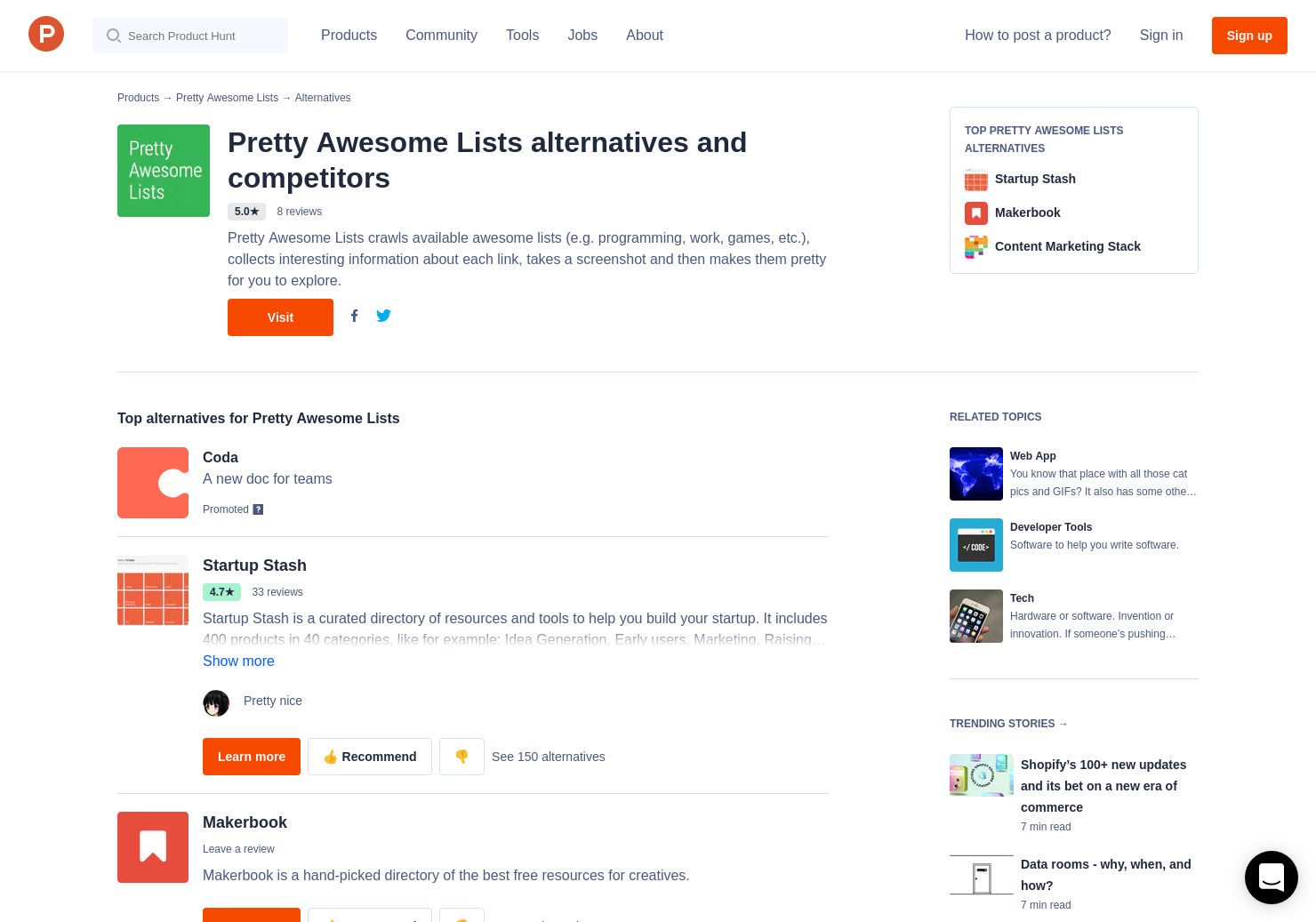20 Alternatives to Pretty Awesome Lists | Product Hunt