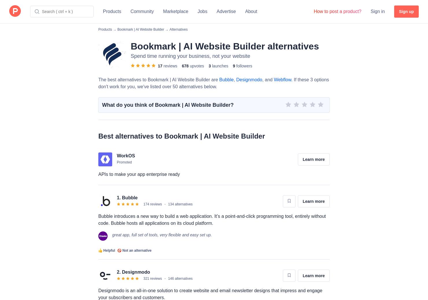 12 Alternatives to Bookmark Website Builder | Product Hunt