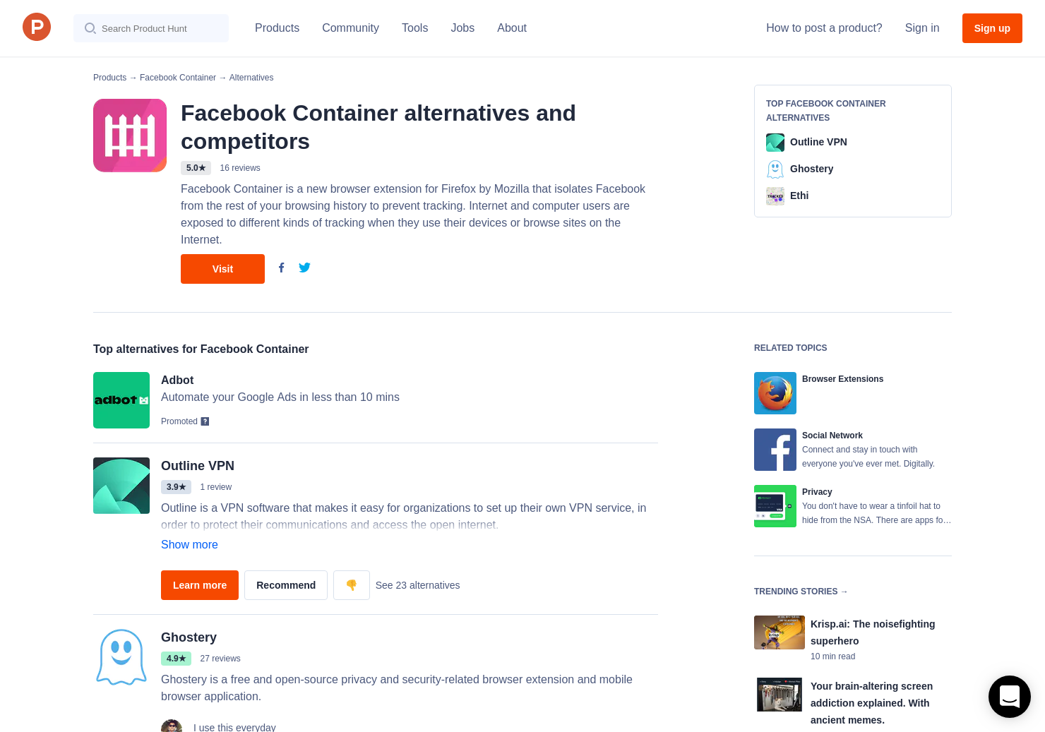 14 Alternatives to Mozilla Facebook Container | Product Hunt