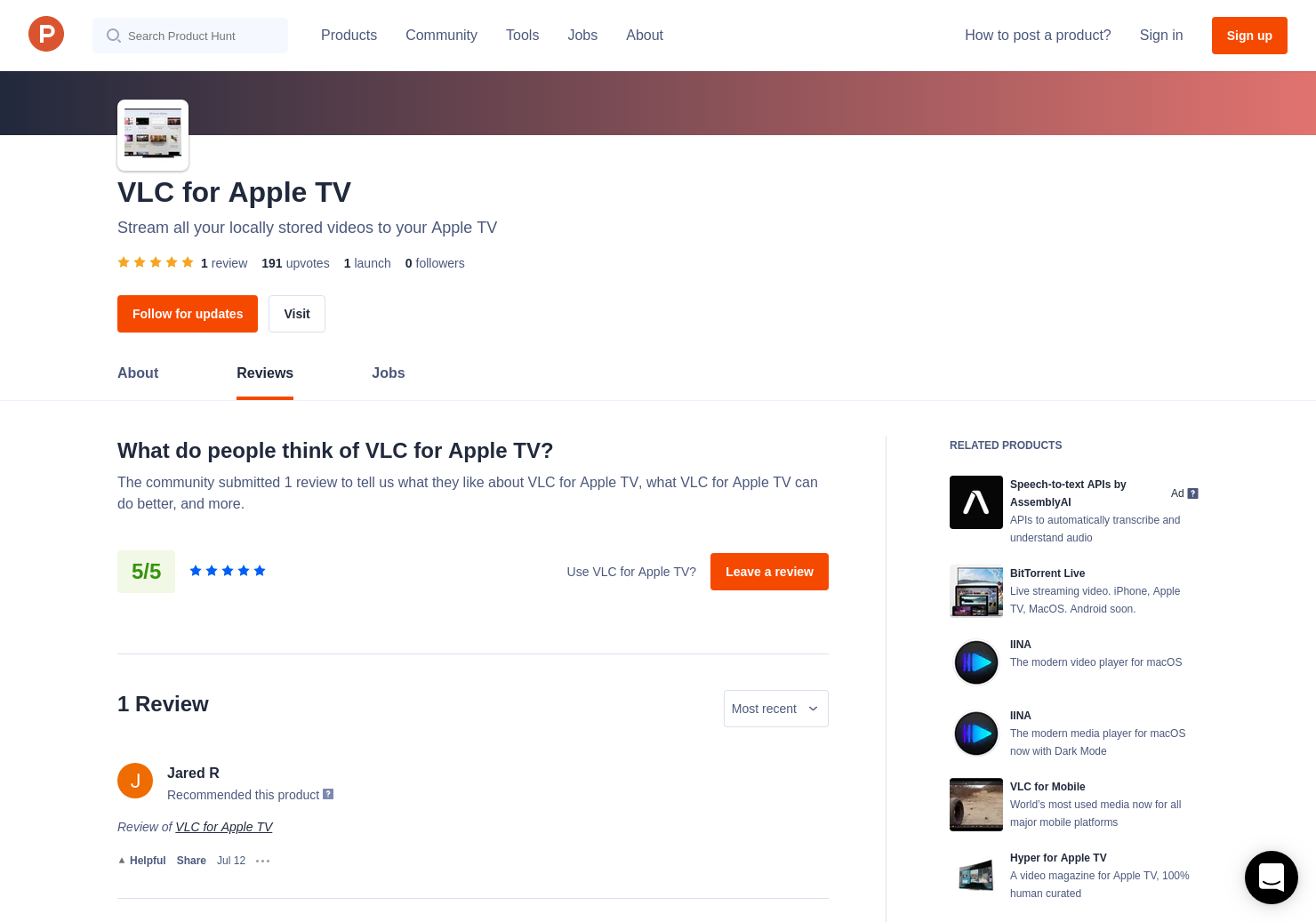 VLC for Apple TV Reviews - Pros, Cons and Rating | Product Hunt