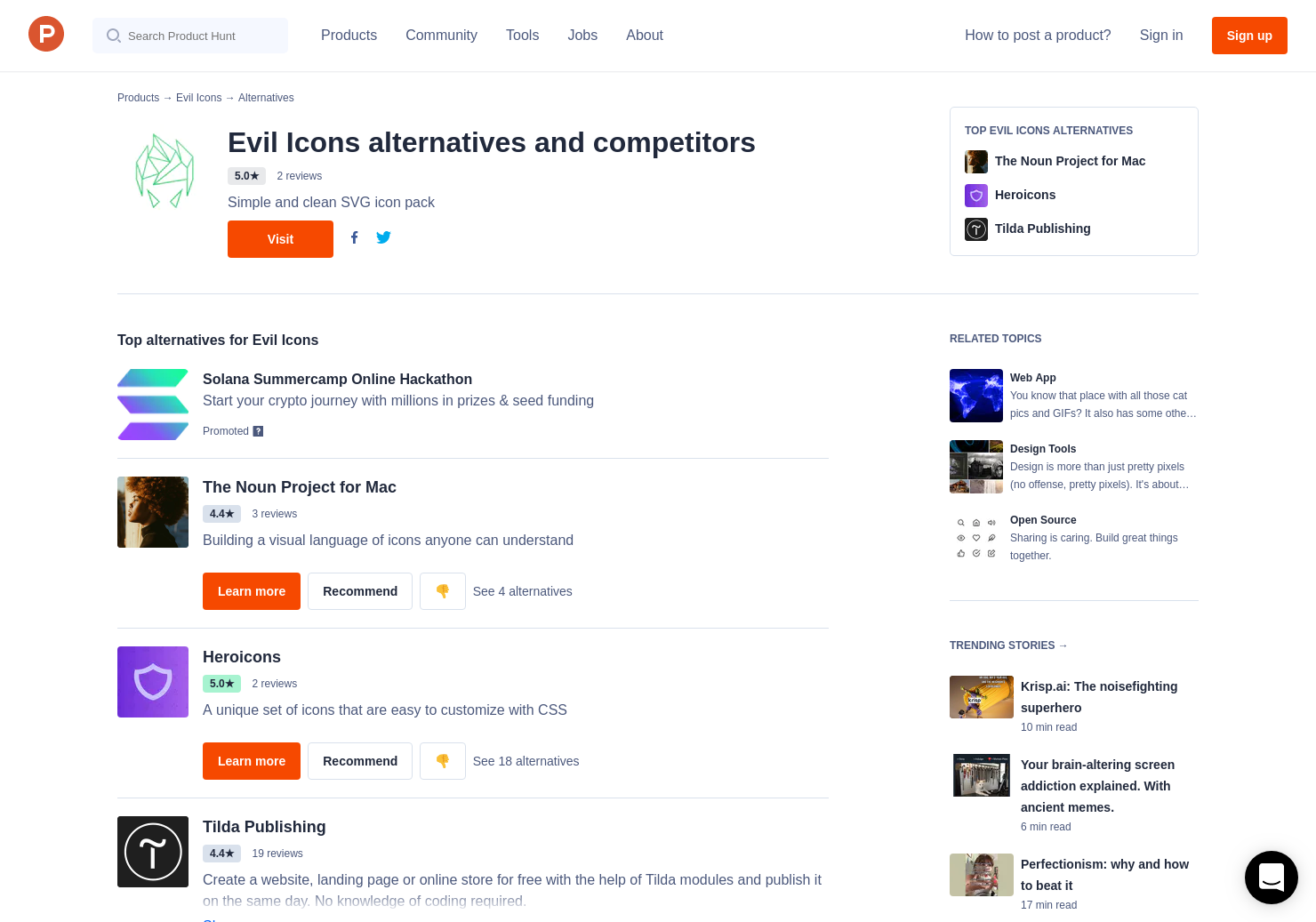 12 Alternatives to Evil Icons | Product Hunt