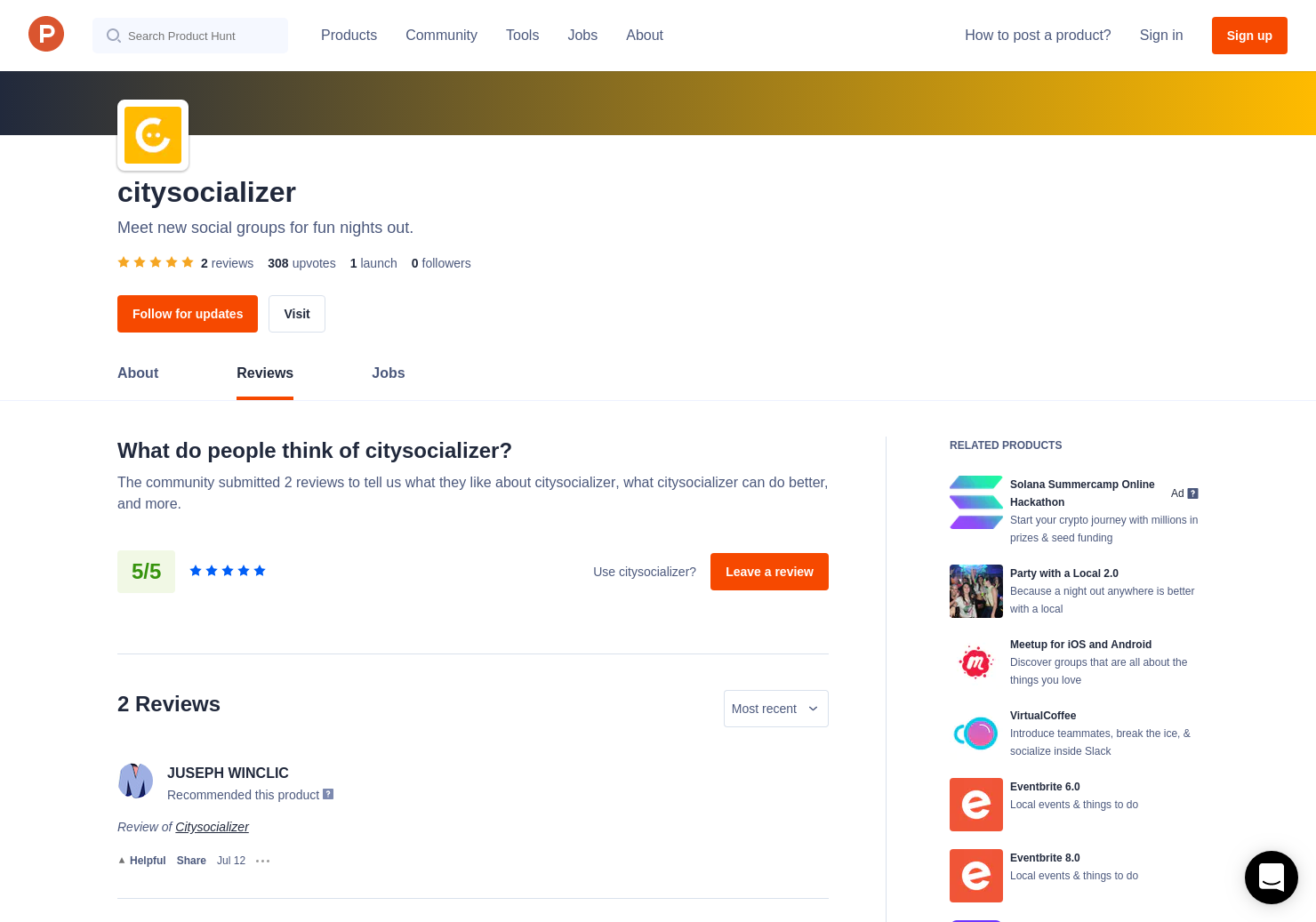 1 Citysocializer Reviews - Pros, Cons and Rating | Product Hunt