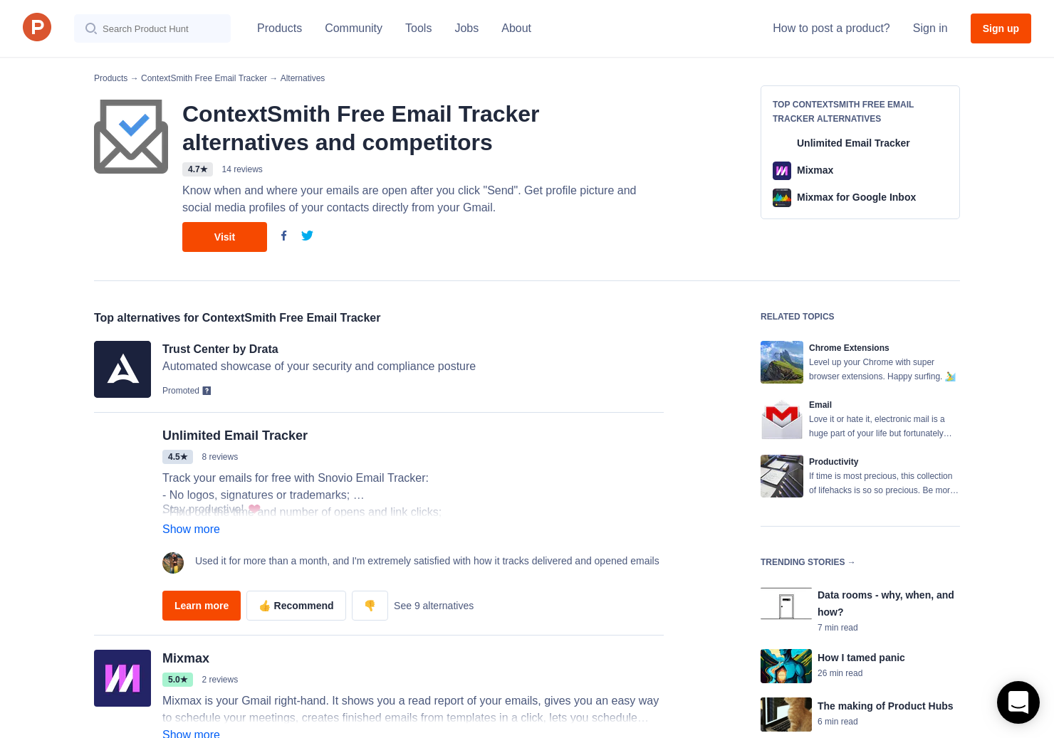 10 Alternatives to ContextSmith Free Email Tracker for Chrome