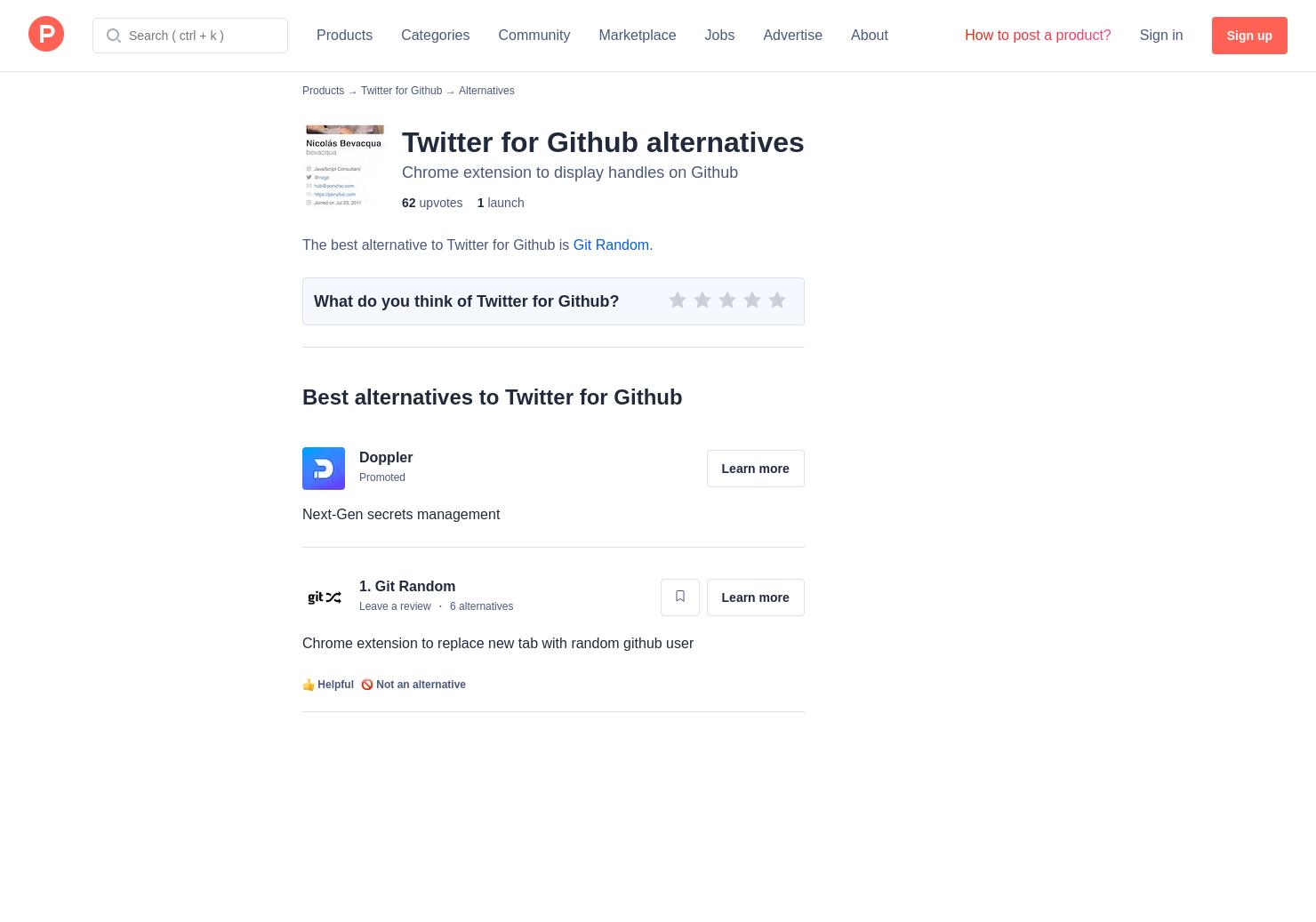 1 Alternatives to Twitter for Github for Chrome Extensions