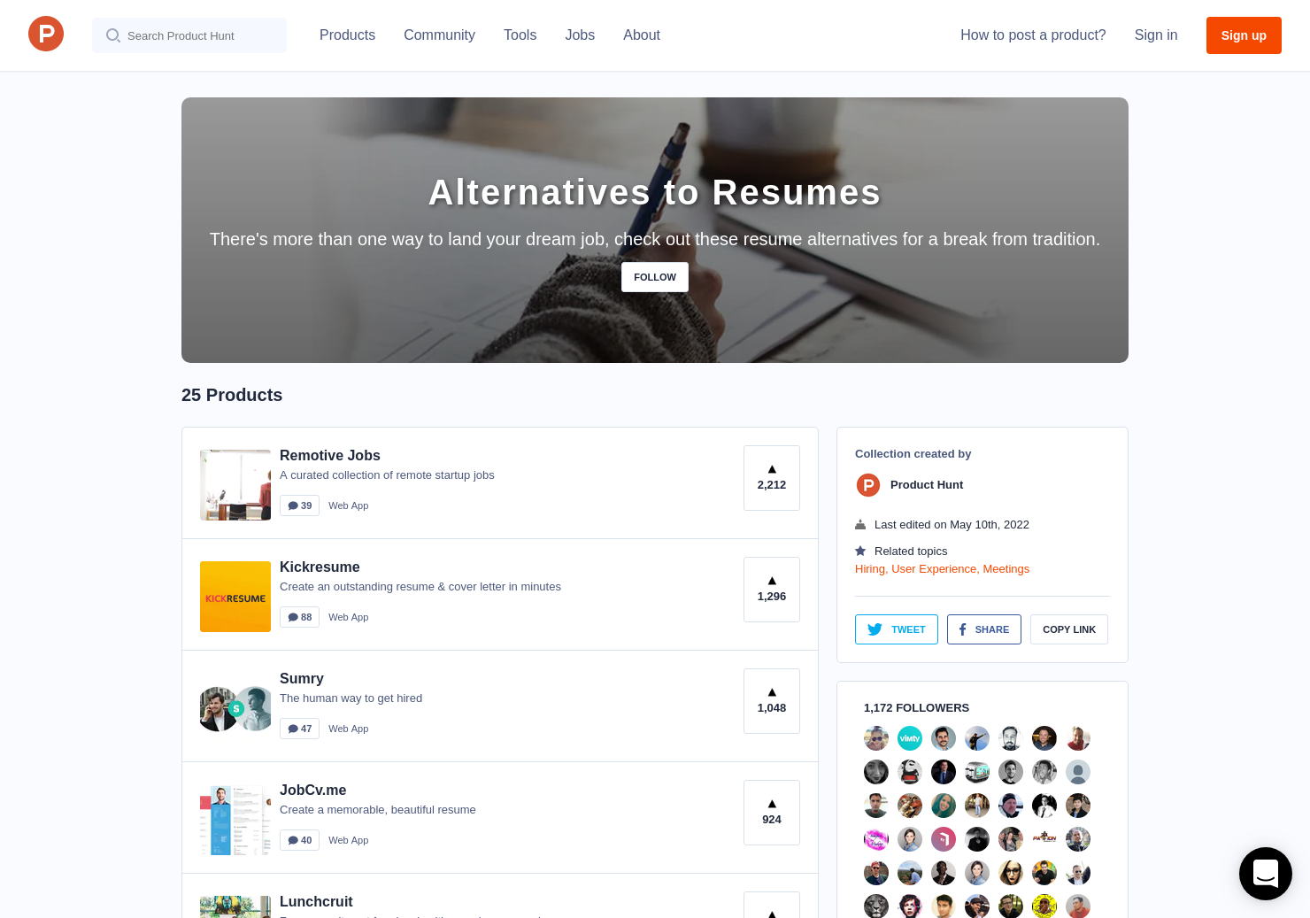 alternatives to resumes product hunt