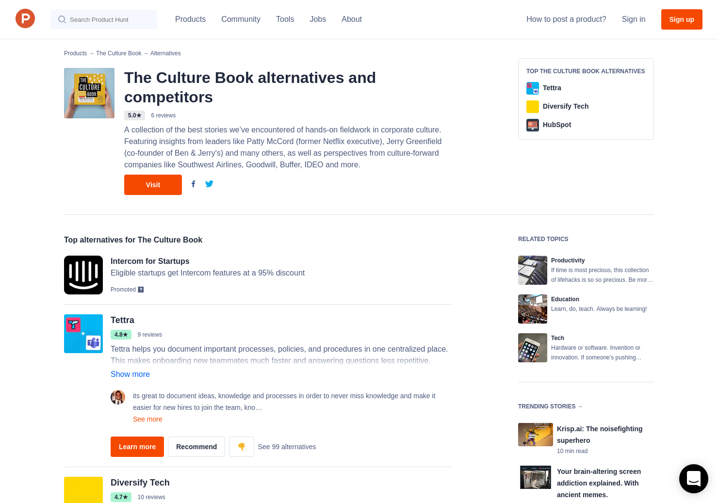 11 alternatives to the culture book product hunt