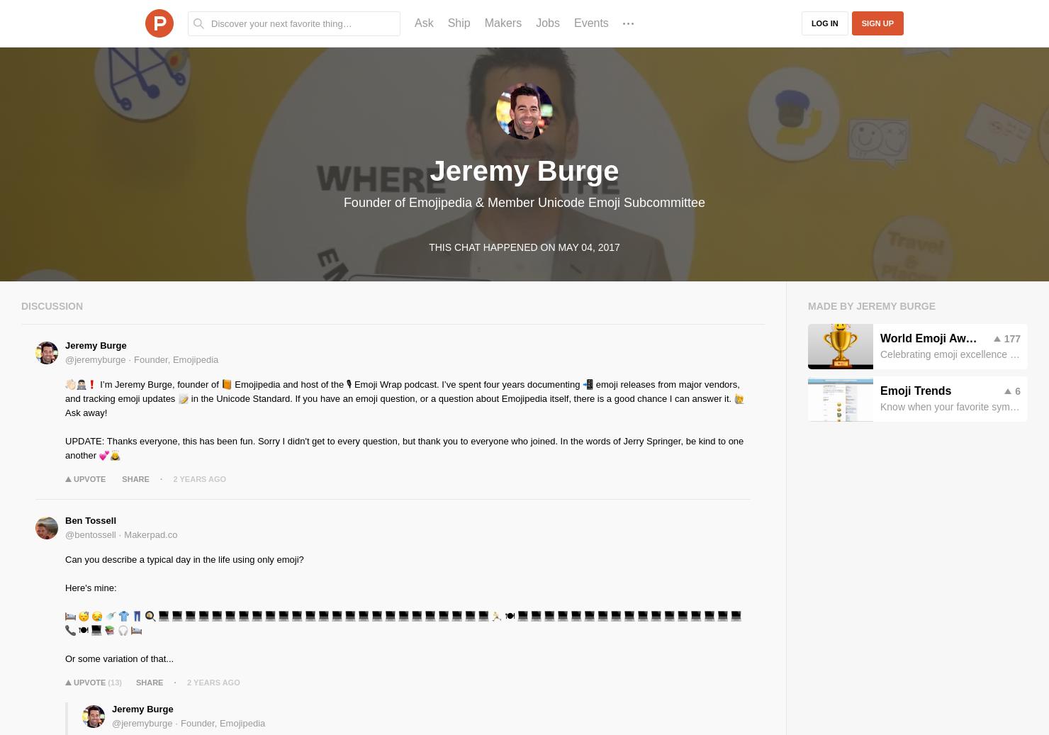 Jeremy Burge LIVE Chat on Product Hunt