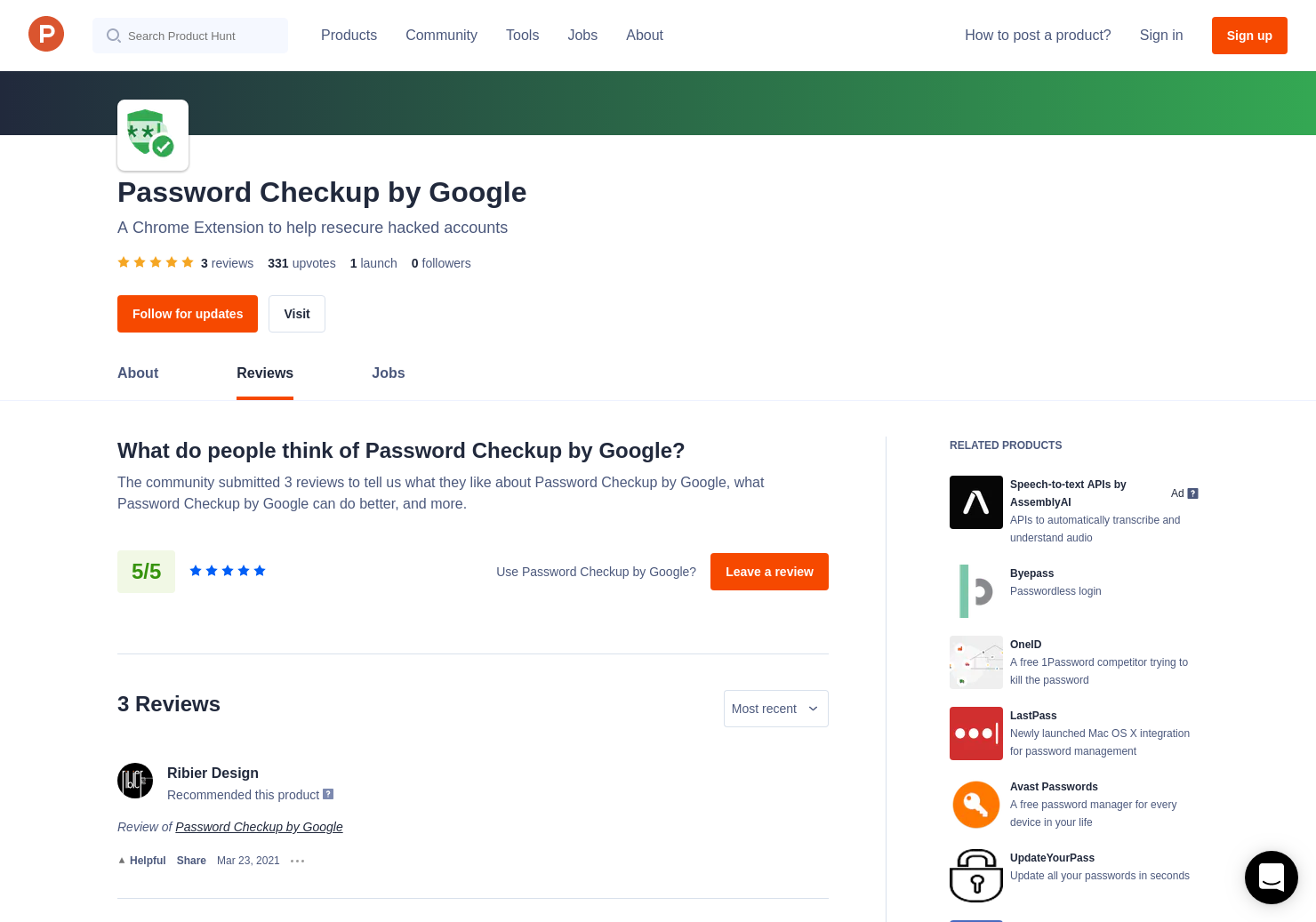 Amin Afshar's review of Password Checkup by Google   Product