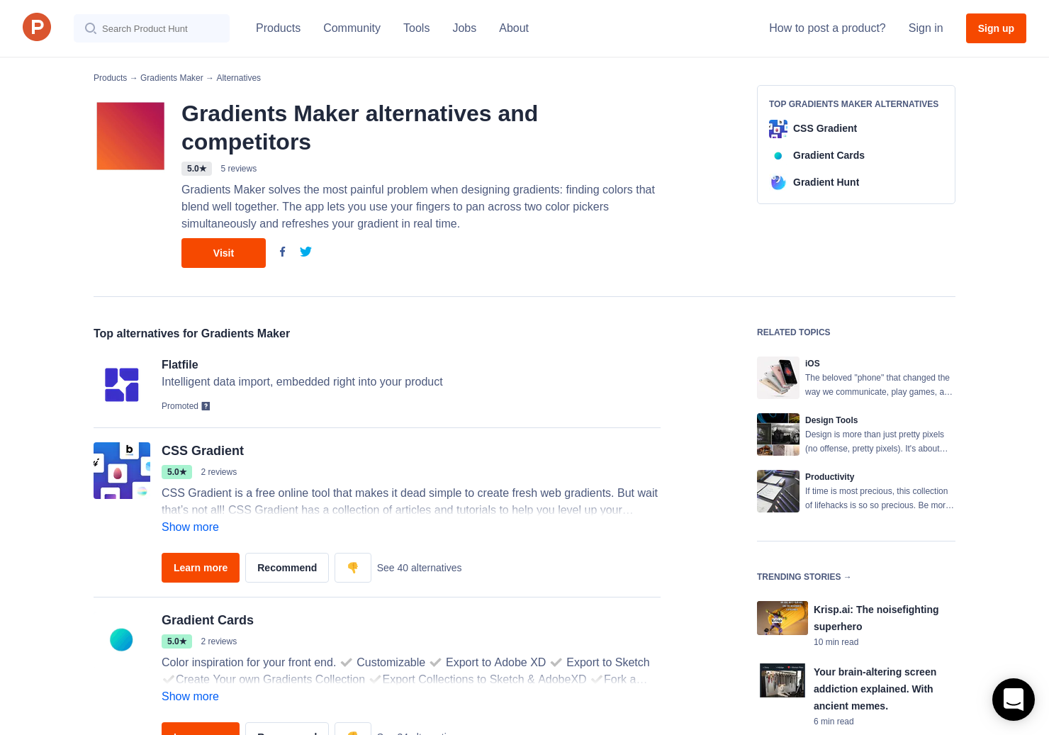 6 Alternatives to Gradients Maker for iPhone   Product Hunt