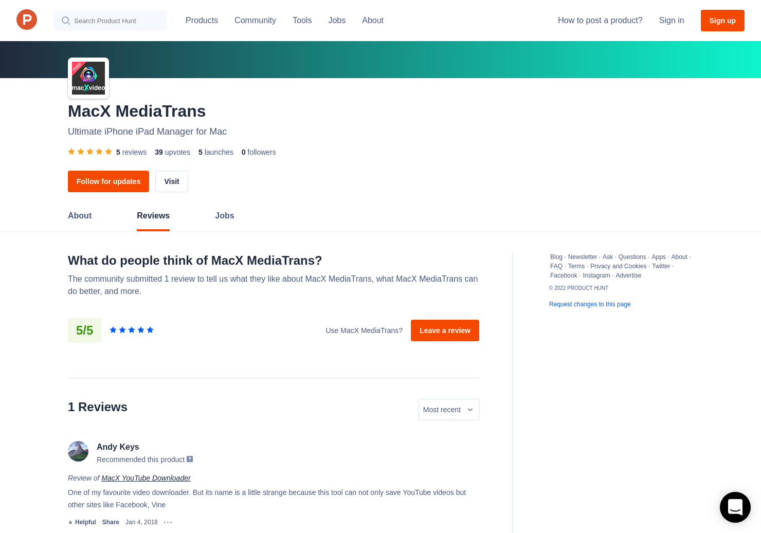 1 MacX YouTube Downloader Reviews - Pros, Cons and Rating | Product Hunt