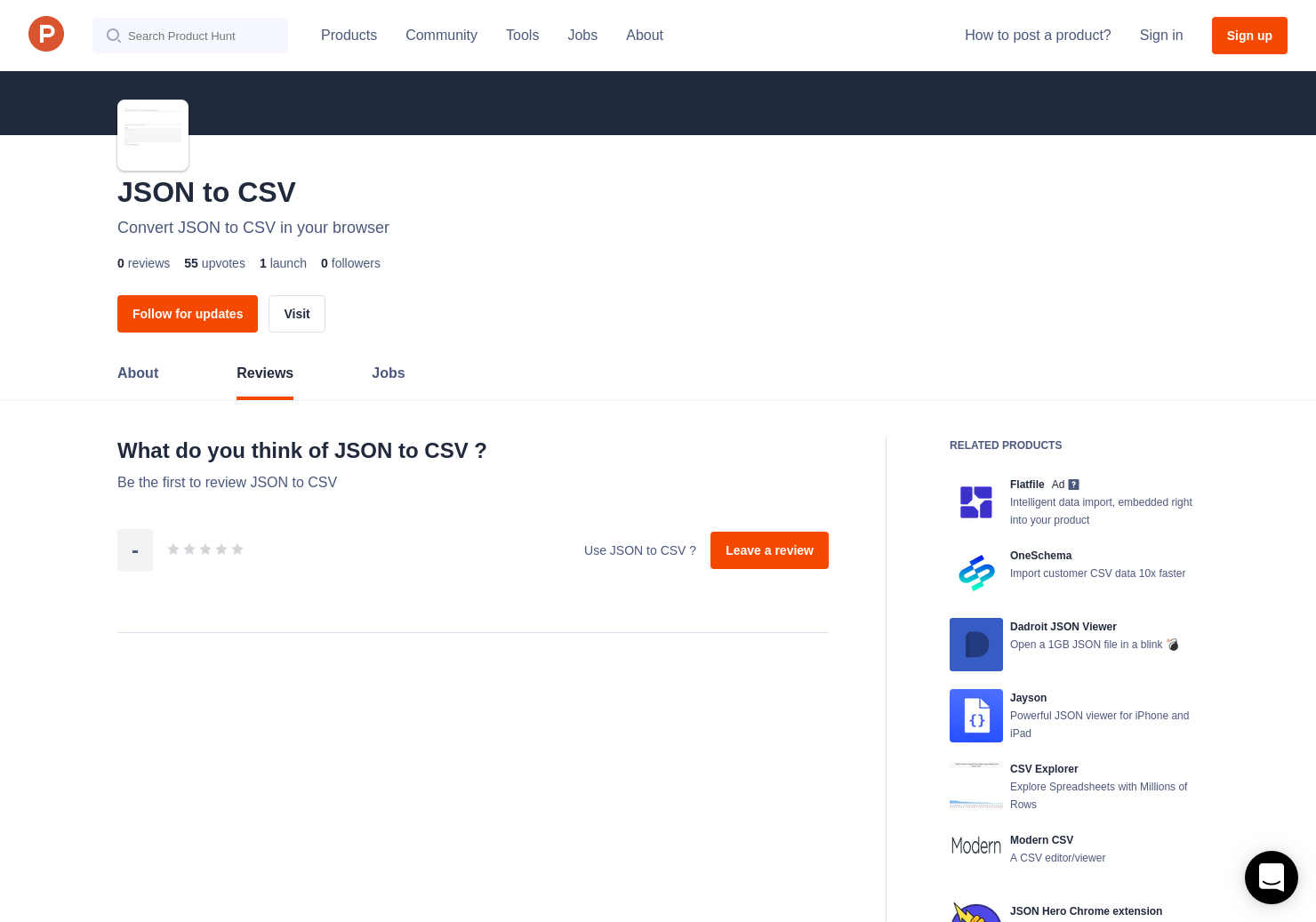 JSON to CSV Reviews - Pros, Cons and Rating | Product Hunt