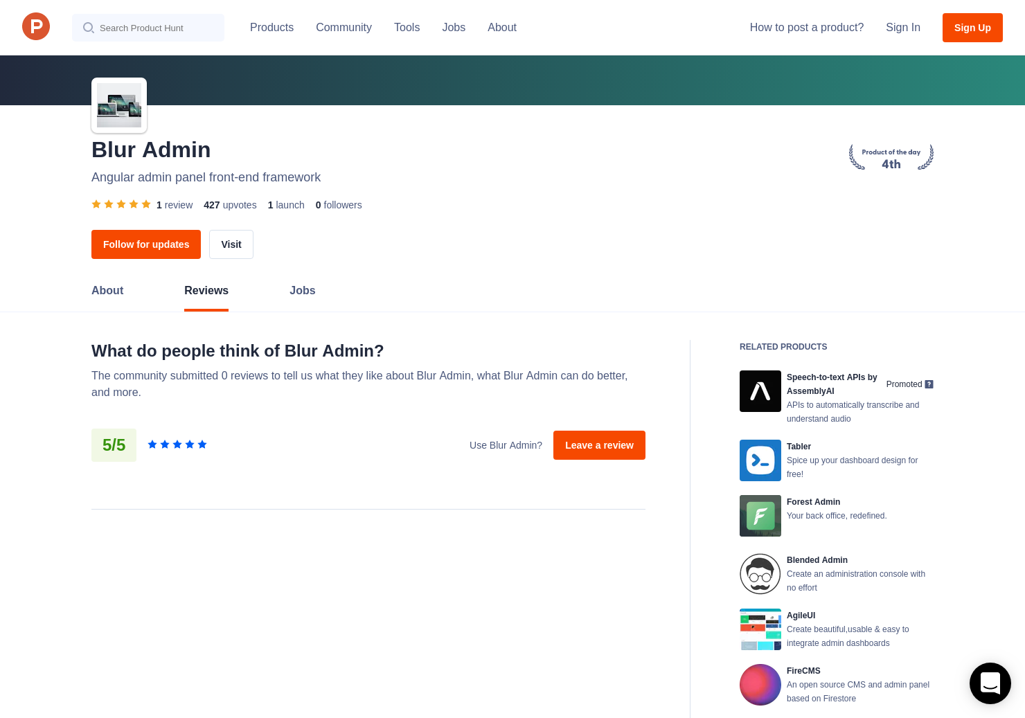 1 Blur Admin Reviews - Pros, Cons and Rating | Product Hunt
