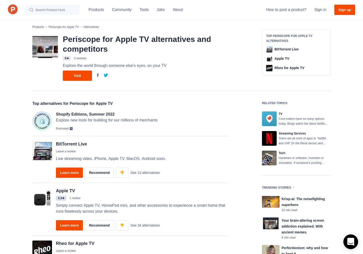 3 Alternatives to Periscope for Apple TV for Apple TV   Product Hunt