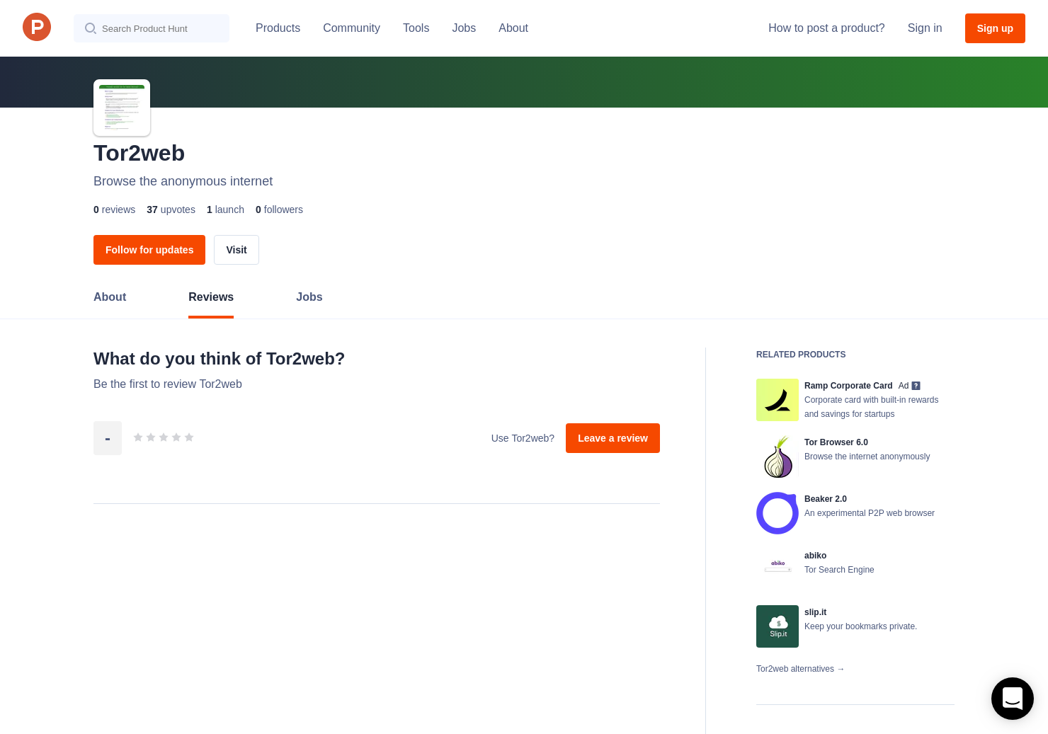 Tor2web Reviews - Pros, Cons and Rating | Product Hunt