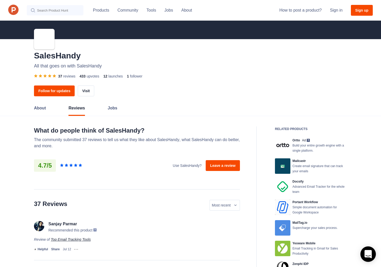 18 SalesHandy 2 0 Reviews - Pros, Cons and Rating   Product Hunt
