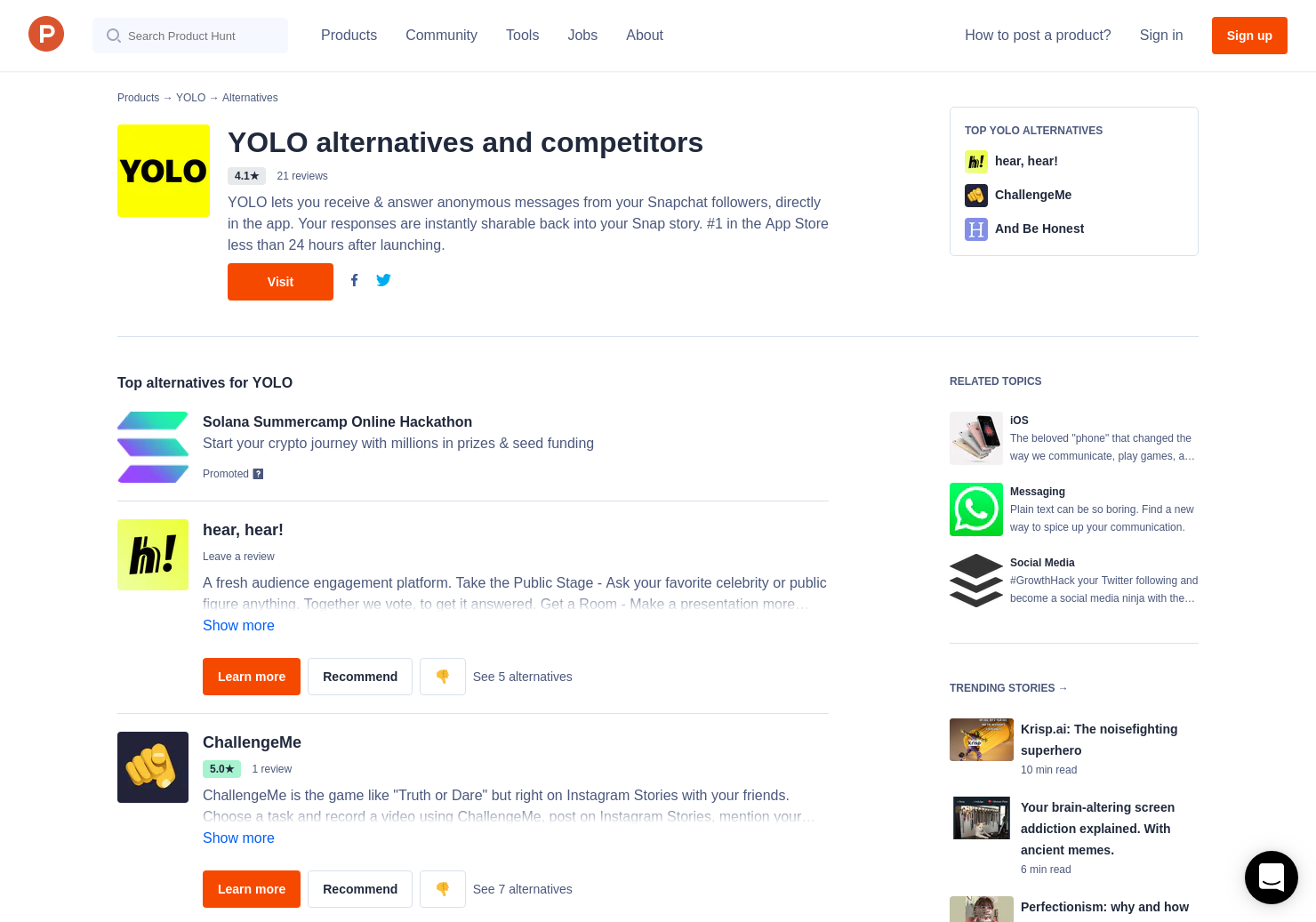 6 Alternatives to YOLO for iPhone | Product Hunt
