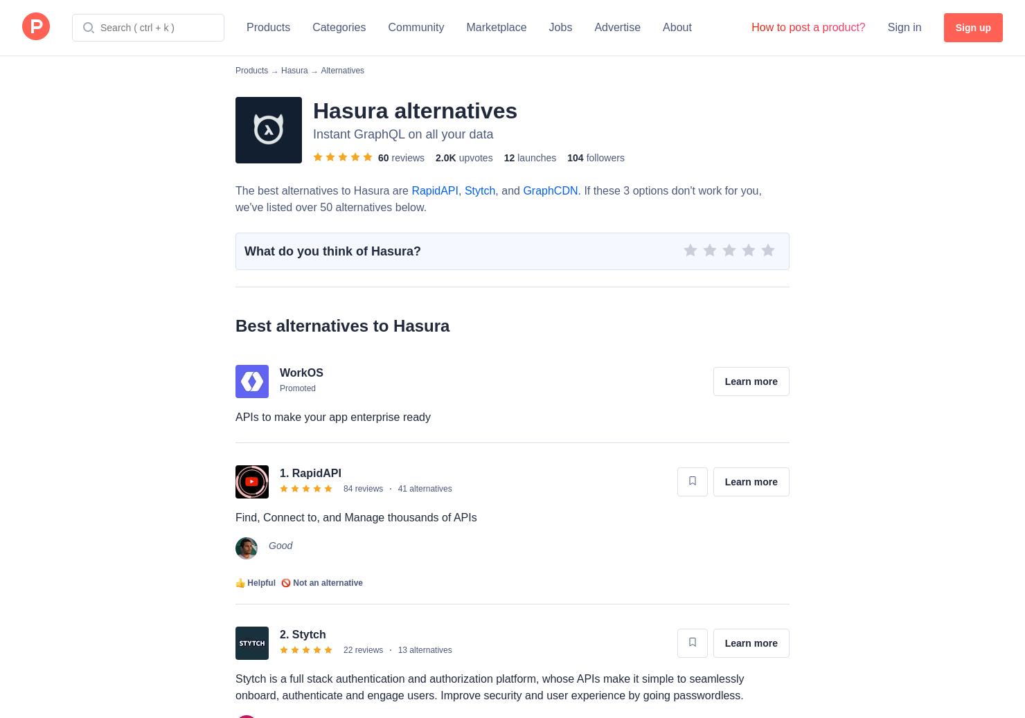 10 Alternatives to Hasura GraphQL Engine | Product Hunt