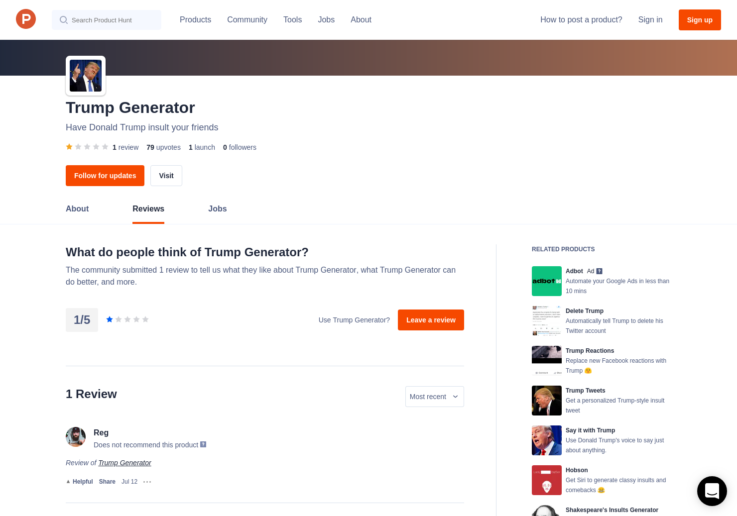 Trump Generator Reviews - Pros, Cons and Rating | Product Hunt