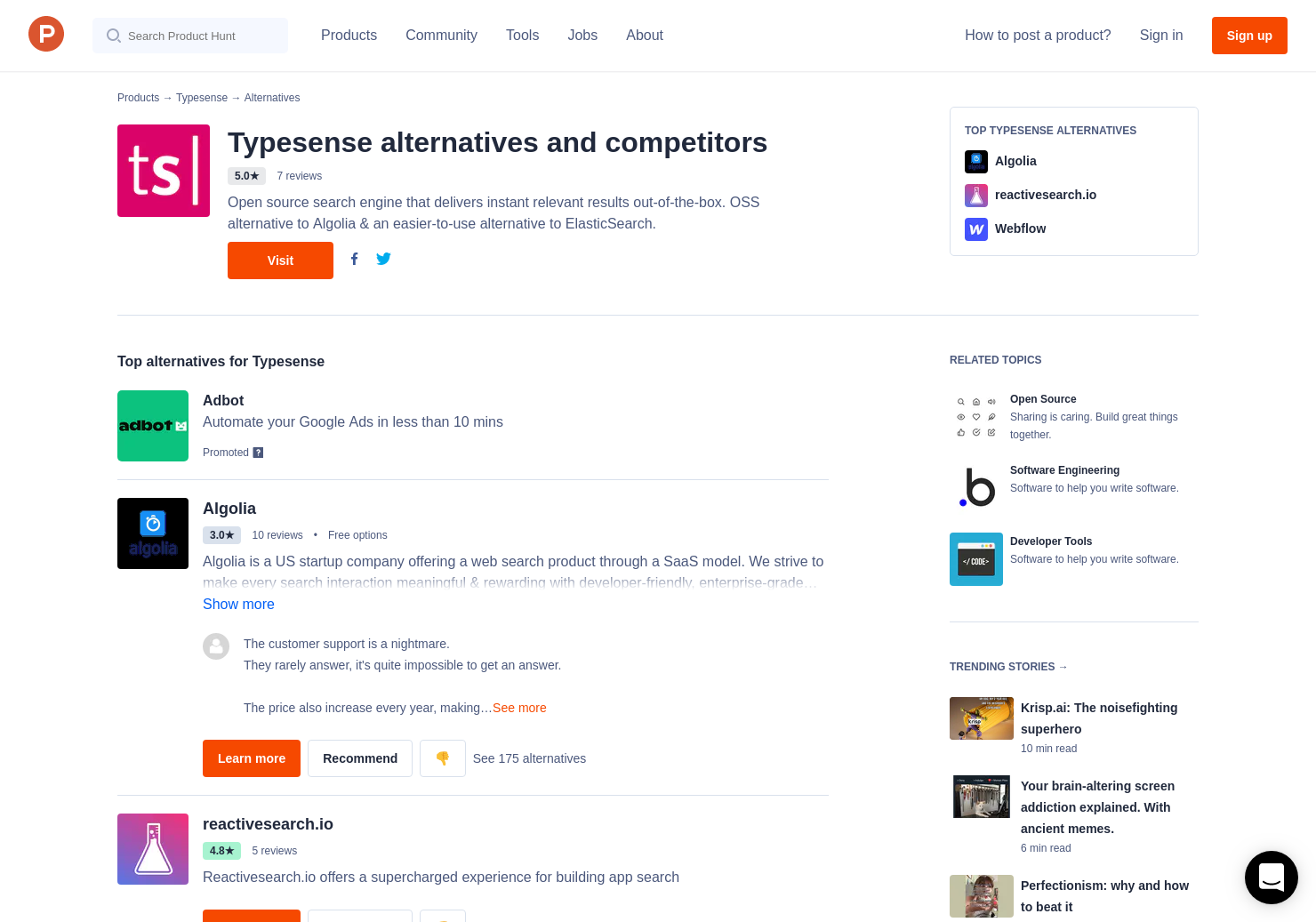 7 Alternatives to Typesense | Product Hunt