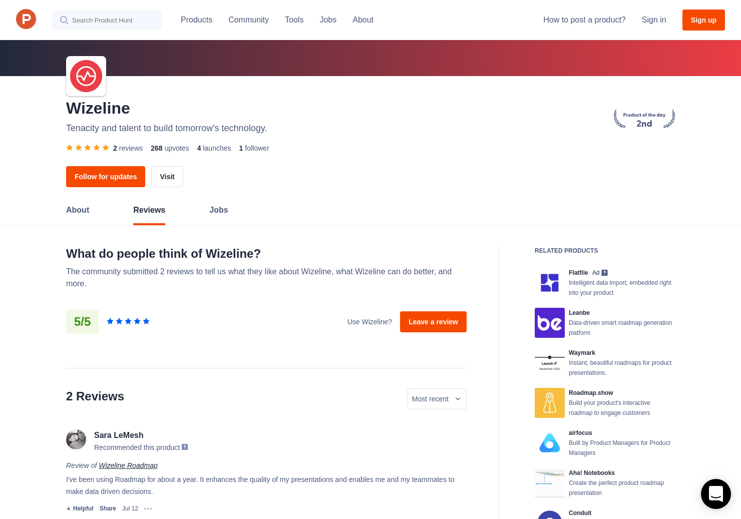 2 Wizeline Roadmap Reviews - Pros, Cons and Rating   Product