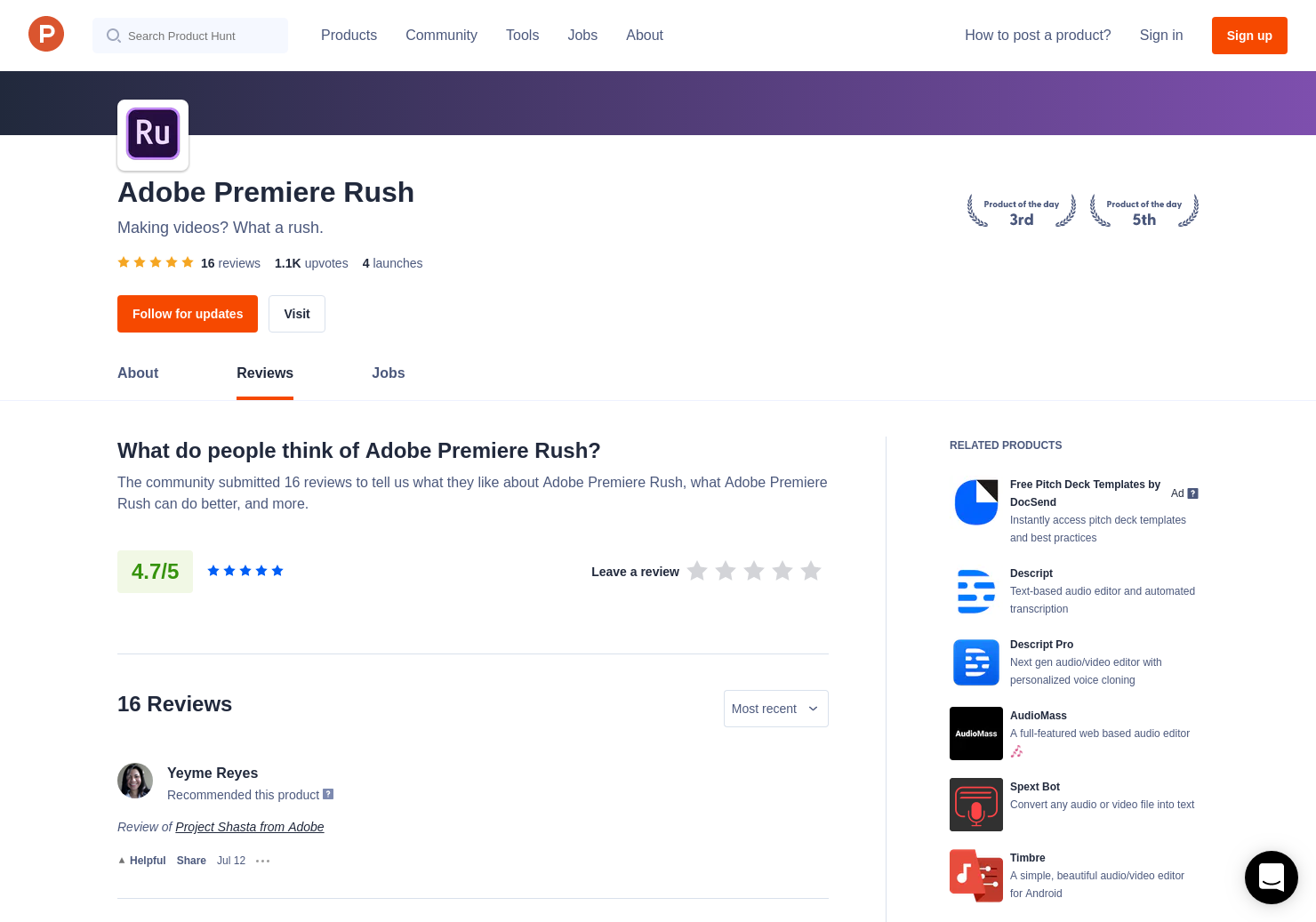Chase Thompson's review of Adobe Premiere Rush CC | Product Hunt