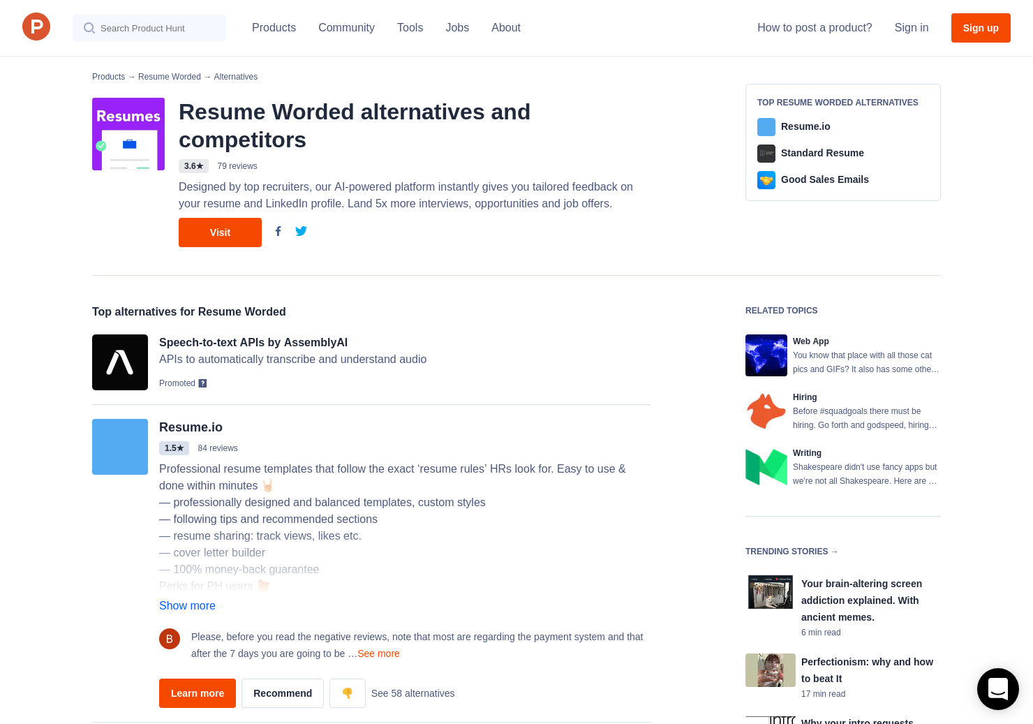 10 alternatives to resume worded product hunt
