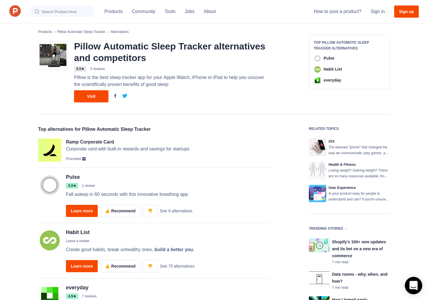 18 Alternatives to Pillow for iOS for iPhone | Product Hunt
