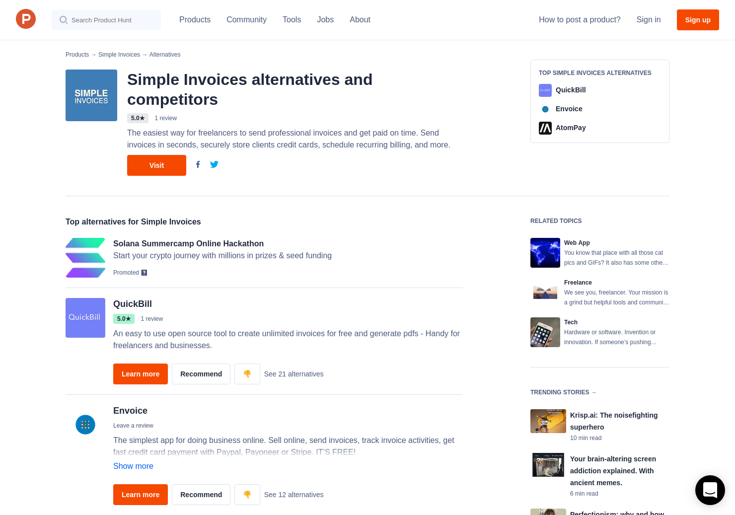 Alternatives To Simple Invoices Product Hunt - Online invoice open source