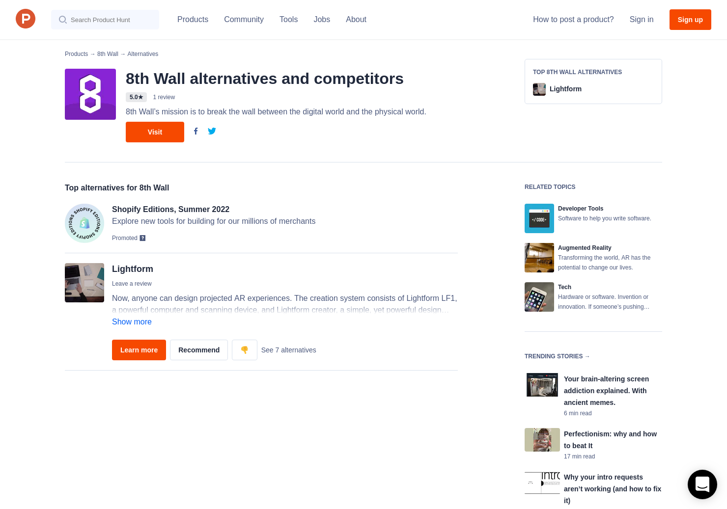 1 Alternatives to 8th Wall | Product Hunt