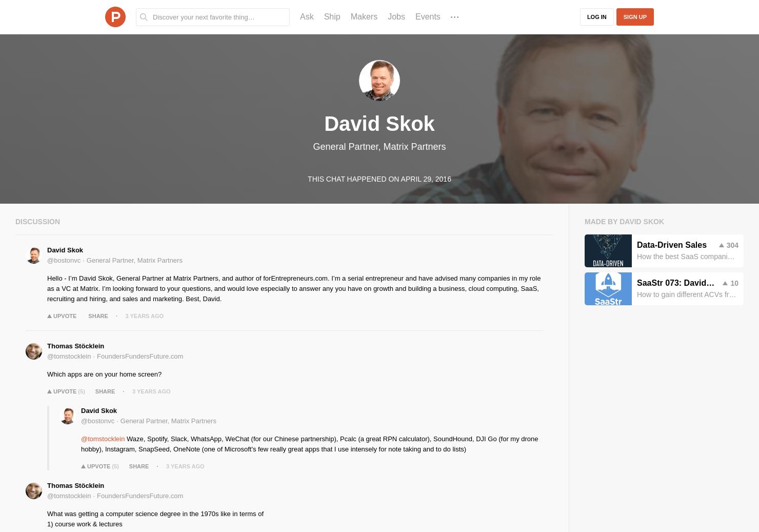 David Skok LIVE Chat on Product Hunt