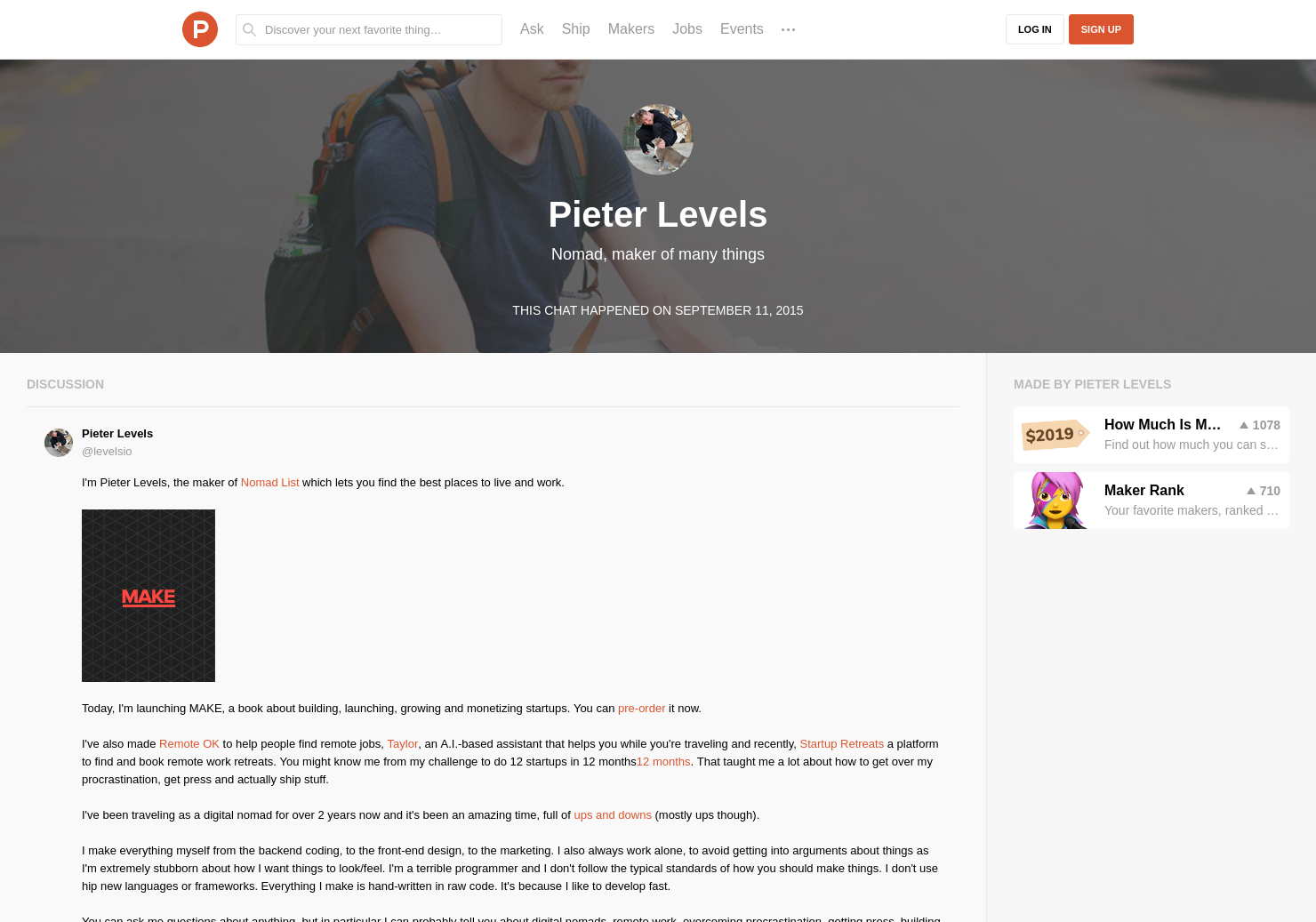 Pieter Levels LIVE Chat on Product Hunt