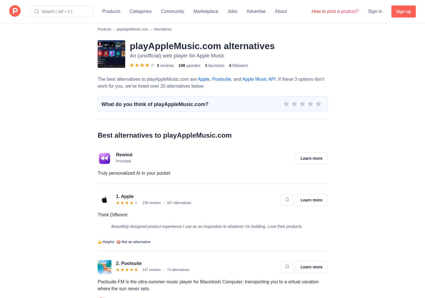 7 Alternatives to playAppleMusic com   Product Hunt