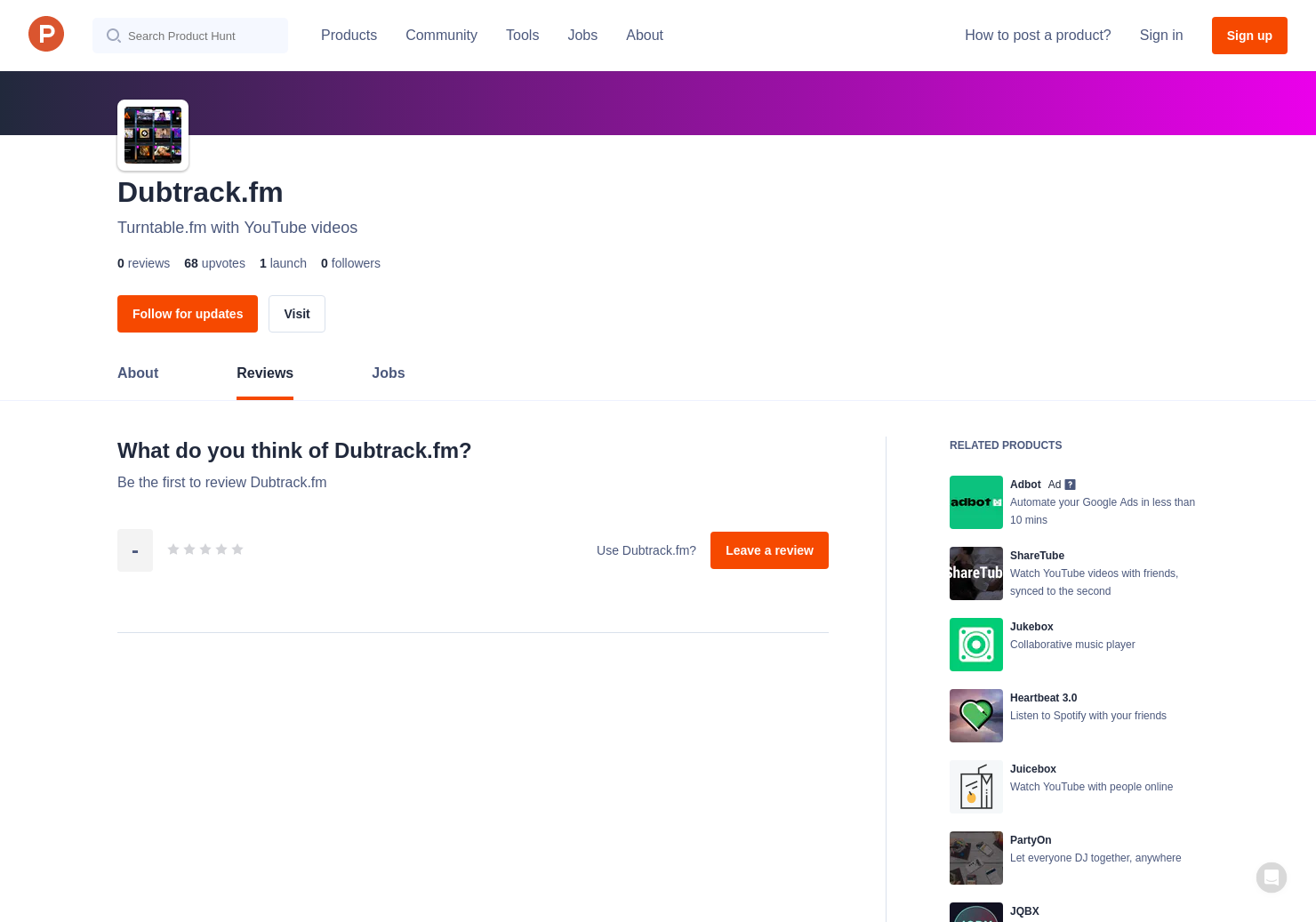 Dubtrack fm Reviews - Pros, Cons and Rating | Product Hunt