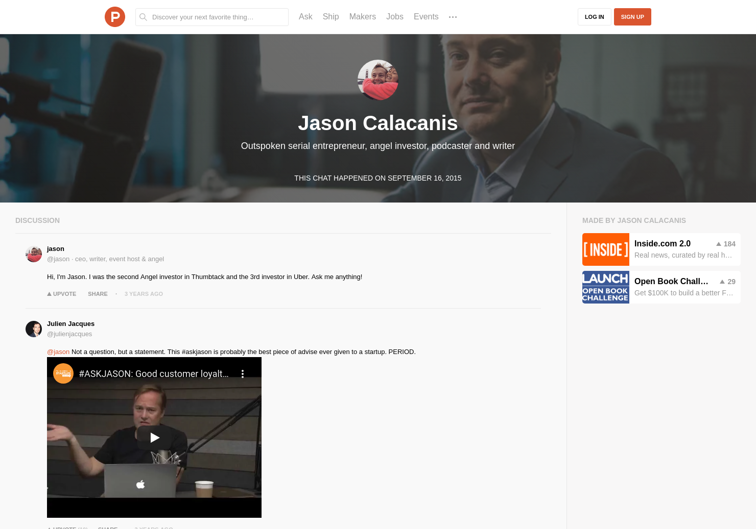 Jason Calacanis LIVE Chat on Product Hunt
