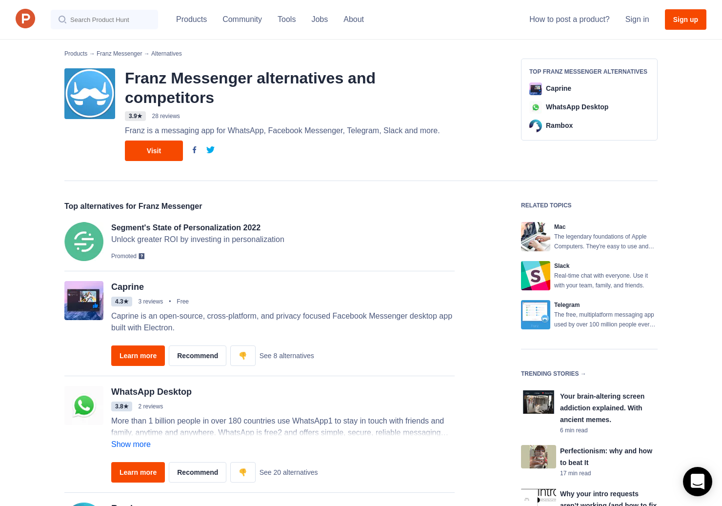 10 Alternatives to Franz 2 0 for Android, iPhone, Linux, Windows