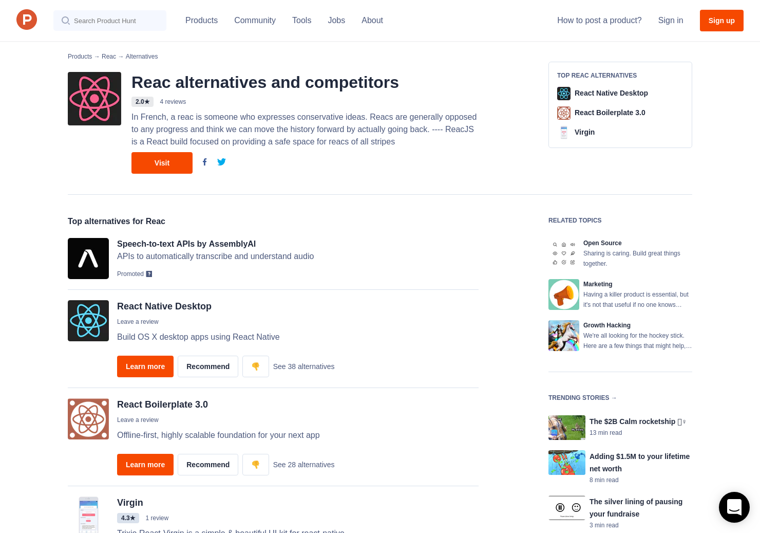 10 Alternatives to Reac | Product Hunt