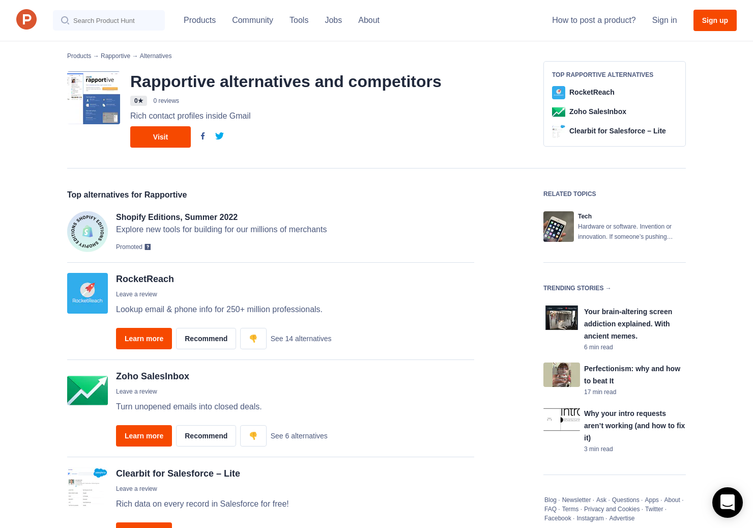 8 alternatives to rapportive product hunt