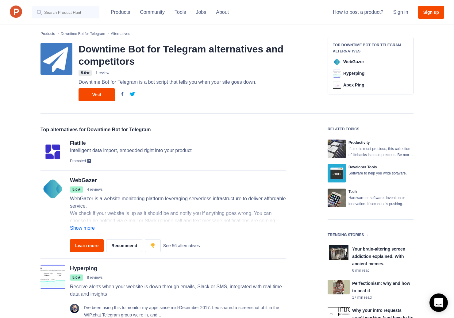 22 Alternatives to Downtime Bot for Telegram | Product Hunt