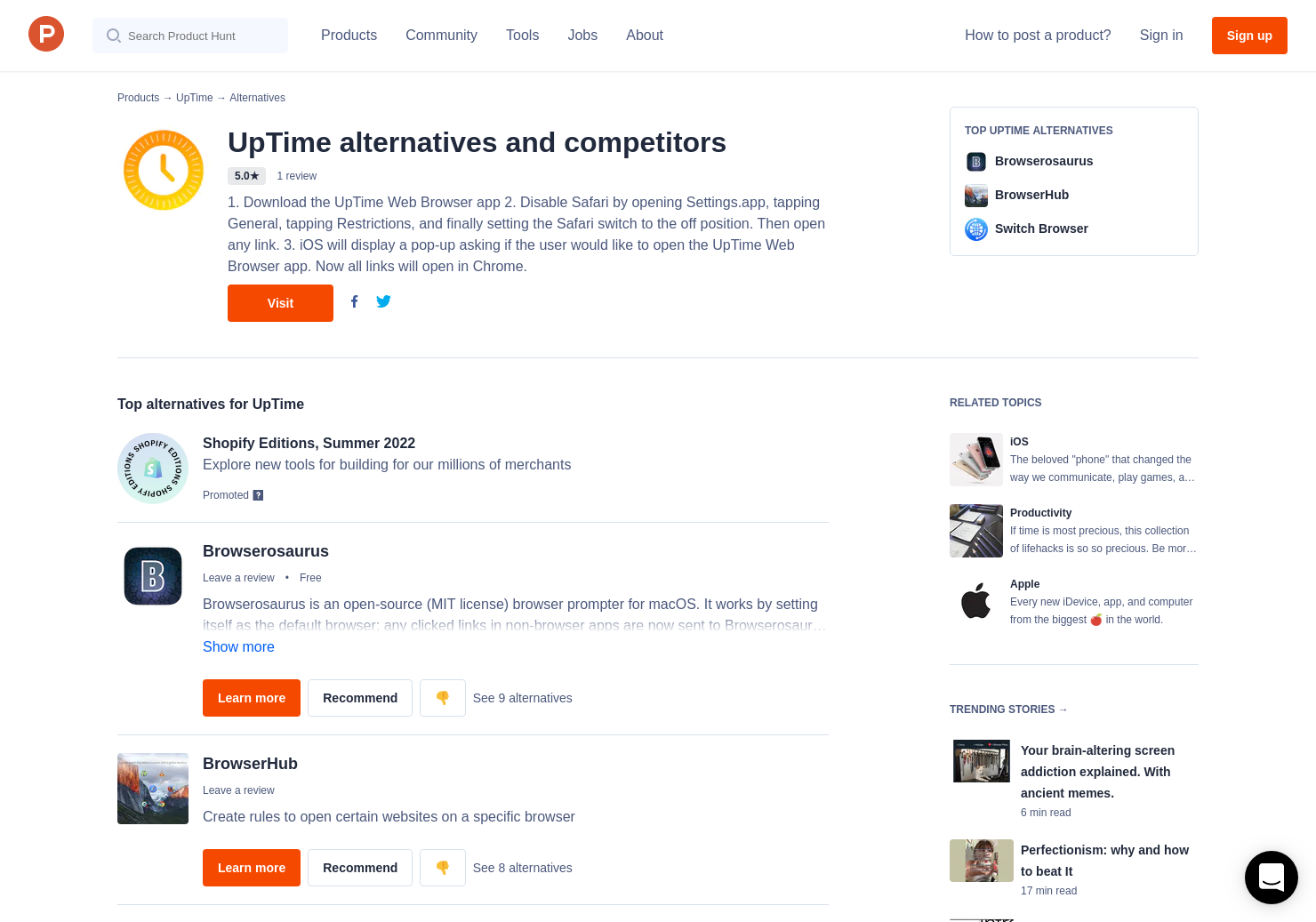 6 Alternatives to UpTime for iPhone | Product Hunt