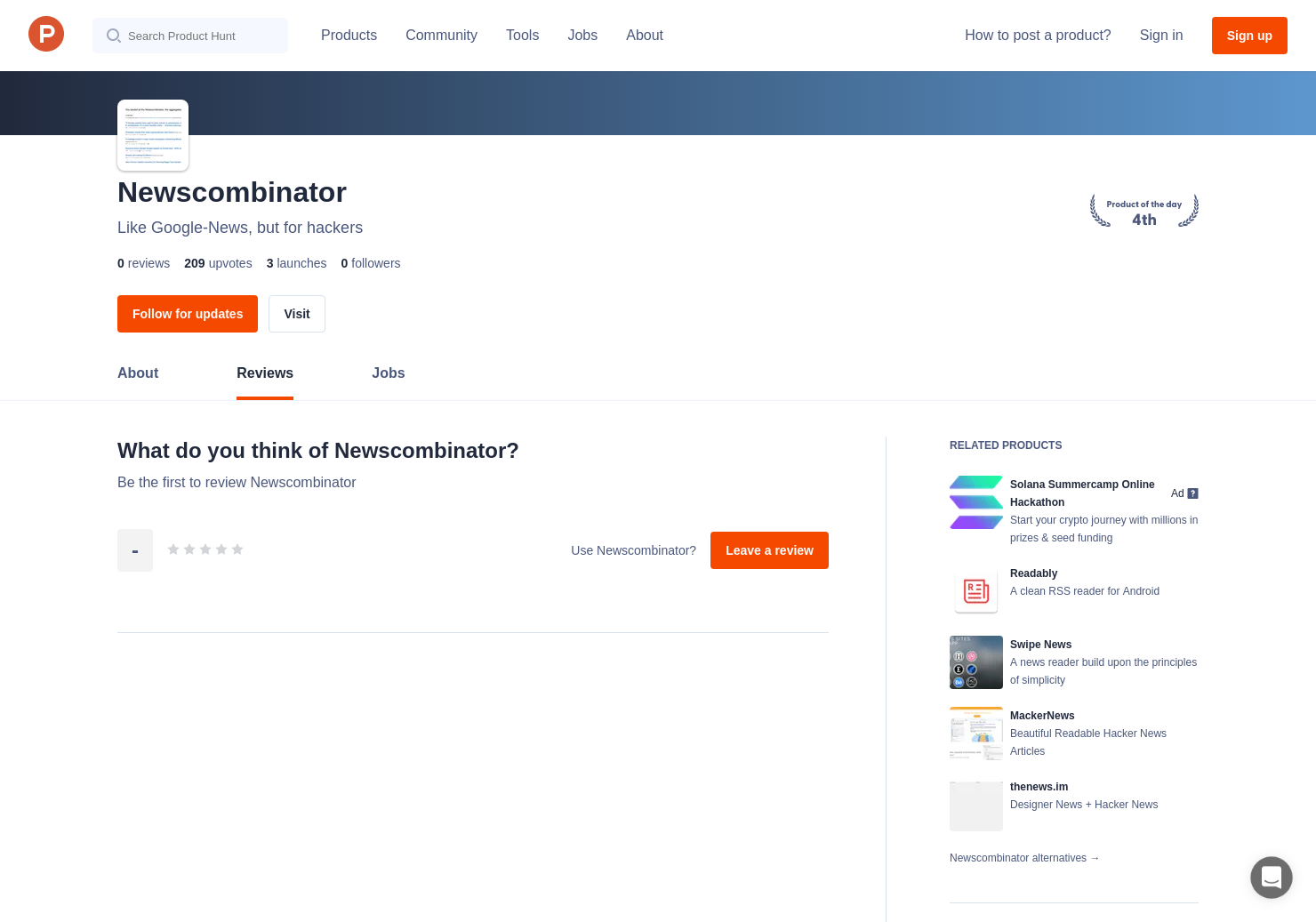 Newscombinator Reviews - Pros, Cons and Rating | Product Hunt