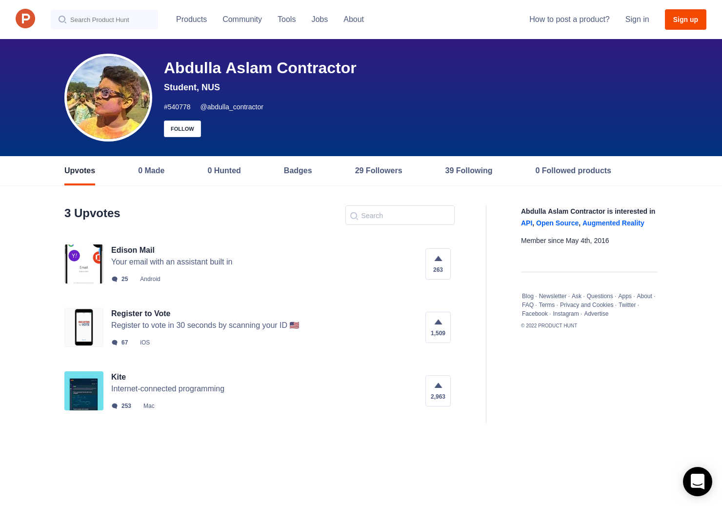 abdulla aslam contractor s profile on product hunt