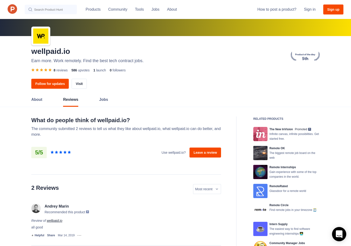 Andrey Marin's review of wellpaid io | Product Hunt