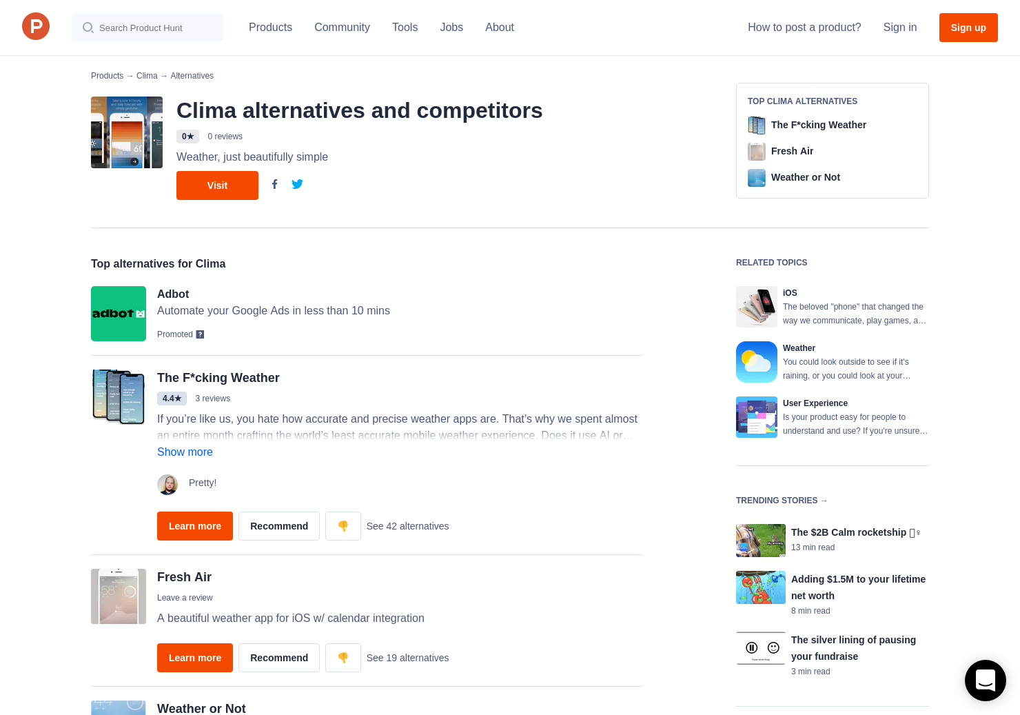 5 Alternatives to Clima for iPhone | Product Hunt