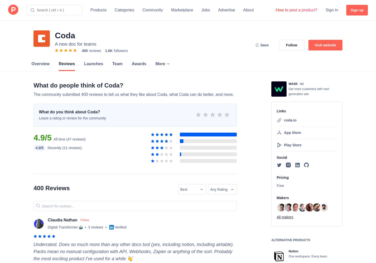 Airtable Vs Jira 119 coda reviews - pros, cons and rating   product hunt