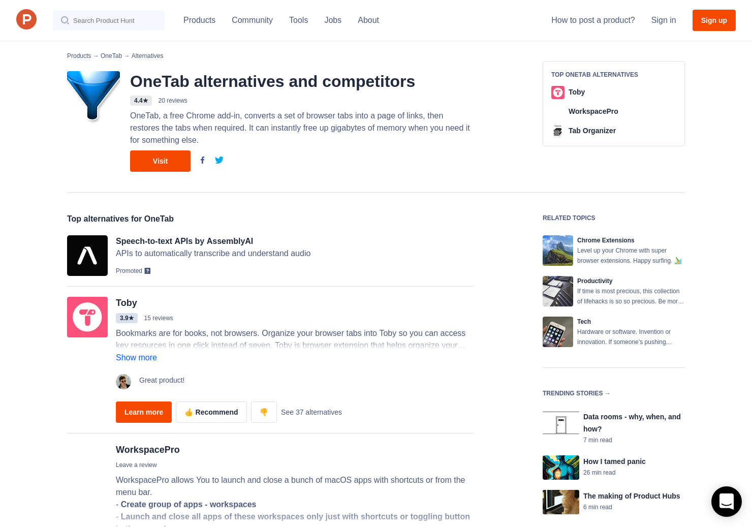 16 Alternatives to OneTab for Chrome Extensions   Product Hunt