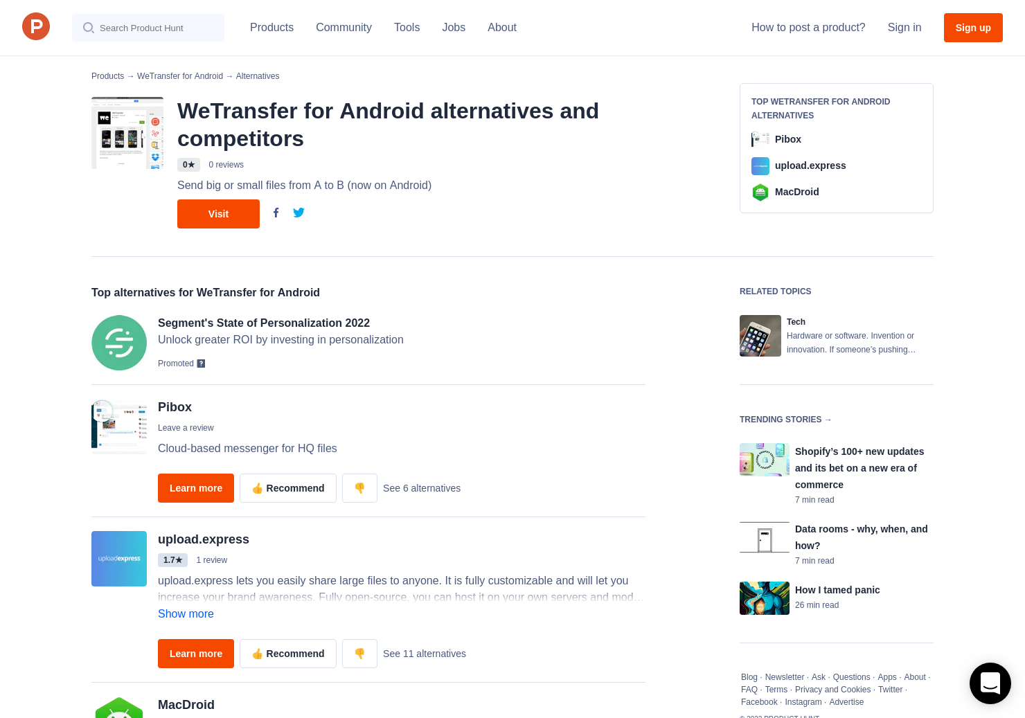 3 Alternatives to WeTransfer for Android | Product Hunt